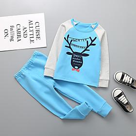 Kids Boys' Basic Christmas Santa Claus Cartoon Letter Print Long Sleeve Regular Clothing Set Blue