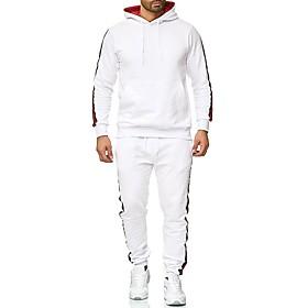 Men's Daily Activewear Set Striped Hooded Basic Hoodies Sweatshirts  Long Sleeve White Black Light gray