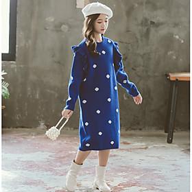 Kids Girls' Basic Cute Polka Dot Print Long Sleeve Midi Dress Blue