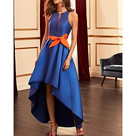 A-Line Color Block Elegant Wedding Guest Formal Evening Dress Halter Neck Sleeveless Asymmetrical Satin with Bow(s) 2020