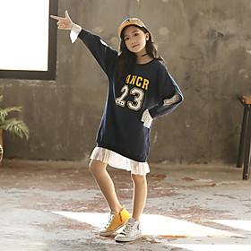 Kids Girls' Active Cute Patchwork Letter Print Lace Trims Long Sleeve Knee-length Dress Navy Blue