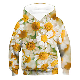 Kids Boys' Active Basic Floral 3D Drawstring Long Sleeve Hoodie  Sweatshirt Yellow