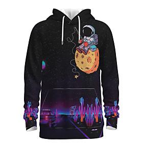 Men's Daily Pullover Hoodie Sweatshirt 3D Graphic Astronaut Hooded 3D Print Casual Hoodies Sweatshirts  Long Sleeve Purple