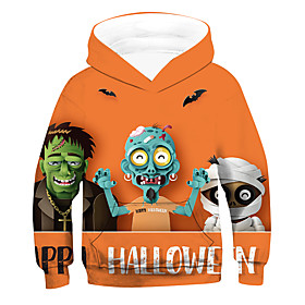 Kids Boys' Active Basic 3D Letter Drawstring Long Sleeve Hoodie  Sweatshirt Orange