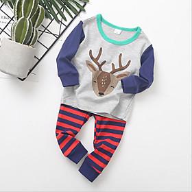Kids Boys' Active Basic Christmas Santa Claus Print Print Long Sleeve Regular Clothing Set Gray