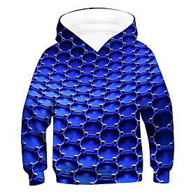Kids Boys' Active Basic 3D Drawstring Long Sleeve Hoodie  Sweatshirt Blue