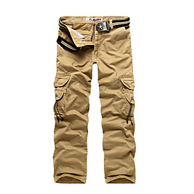 Men's Active Basic Outdoor Dailywear Daily Sports Cotton Chinos Tactical Cargo Fit Pants Solid Colored Multi Pocket Black Army Green Khaki 28 29 30