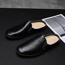 Men's Clogs  Mules Casual Daily Walking Shoes Nappa Leather Breathable Non-slipping Wear Proof White / Black / Blue Summer