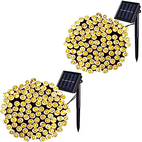 2 Pack LED Solar String Light 12M-100LED 7M-50LED 8 Modes Solar Christmas Lights Waterproof for Gardens Wedding Party Homes Christmas Tree Curtains Outdoors