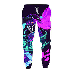 Men's Exaggerated Daily Casual Sweatpants Pants Pattern 3D Print Sporty Print Drawstring Sports Purple M L XL