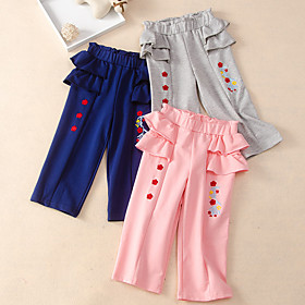 Kids Girls' Active Basic Solid Colored Print Pants Blue