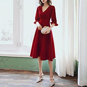 A-Line Elegant Minimalist Homecoming Cocktail Party Dress V Neck Half Sleeve Knee Length Velvet with Pleats Ruffles 2020