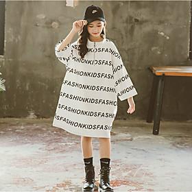 Kids Girls' Active Cute Letter Print Long Sleeve Knee-length Dress White