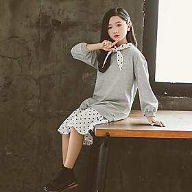 Kids Girls' Active Cute Polka Dot Patchwork Print Long Sleeve Knee-length Dress Gray