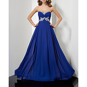 A-Line Elegant Floral Engagement Formal Evening Dress Sweetheart Neckline Sleeveless Court Train Chiffon with Pleats 2020