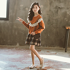 Kids Girls' Active Cute Patchwork Patchwork Long Sleeve Above Knee Dress Brown