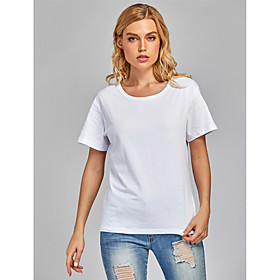 Women's 2 Piece T-shirt Solid Colored Round Neck Tops Basic Basic Top Black and White White  Red White  Purple