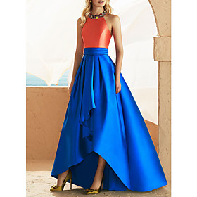 A-Line Beautiful Back Sexy Wedding Guest Prom Dress Halter Neck Sleeveless Asymmetrical Satin with Beading Appliques 2020