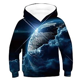 Kids Boys' Active Basic Galaxy 3D Drawstring Long Sleeve Hoodie  Sweatshirt Blue