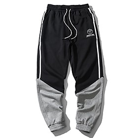 Men's Basic Casual Jogger Pants Letter Black  White Black  Gray Patchwork Drawstring Comfort White Black M L XL