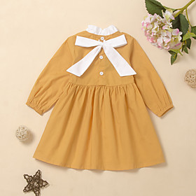 Kids Girls' Active Cute Solid Colored Bow Lace up Long Sleeve Knee-length Dress Yellow