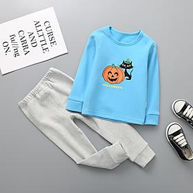 Kids Boys' Basic Christmas Cat Cartoon Letter Print Long Sleeve Regular Clothing Set Blue