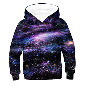 Kids Boys' Active Basic Galaxy 3D Drawstring Long Sleeve Hoodie  Sweatshirt Purple