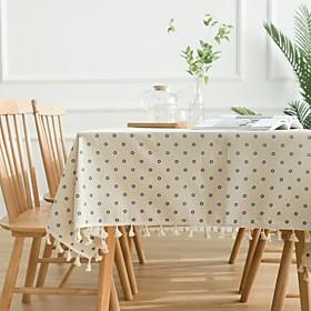 Blue Daisy Printed Garden Cotton Linen Tablecloth Tablecloth