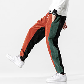 Men's Basic Casual Harem Pants Multi Color Outdoor Black Orange M L XL