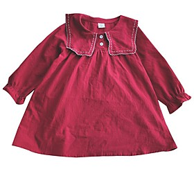 Kids Girls' Basic Blue Red Solid Colored Long Sleeve Knee-length Dress Red