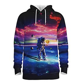 Men's Daily Pullover Hoodie Sweatshirt 3D Graphic Astronaut Hooded 3D Print Casual Hoodies Sweatshirts  Long Sleeve Rainbow