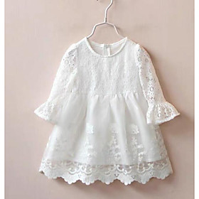 Kids Girls' Active Cute White Solid Colored Lace Trims Long Sleeve Knee-length Dress White