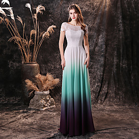 A-Line Color Block Reformation Amante Prom Formal Evening Dress Jewel Neck Short Sleeve Sweep / Brush Train Chiffon Lace with Lace Insert 2020