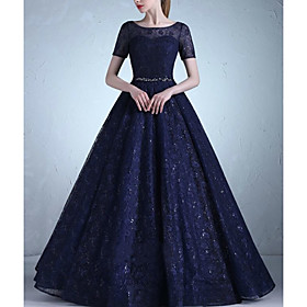 A-Line Elegant Beautiful Back Prom Formal Evening Dress Jewel Neck Short Sleeve Floor Length Lace with Sash / Ribbon Crystals 2020