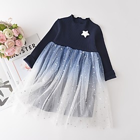 Kids Girls' Basic Blue Solid Colored Layered Long Sleeve Above Knee Dress Blue