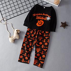 Kids Boys' Basic Chinoiserie Daily Wear Festival Solid Colored Letter Print Long Sleeve Regular Regular Clothing Set Black
