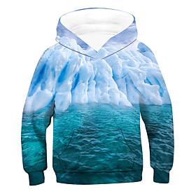 Kids Boys' Active Basic 3D Drawstring Long Sleeve Hoodie  Sweatshirt Light Blue