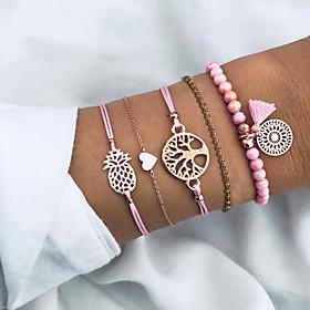 5pcs Women's Bracelet Layered Tree of Life Heart Fruit Tassel European Fashion Resin Bracelet Jewelry Blushing Pink For Gift Beach