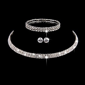 Women's Jewelry Set Elegant Classic Earrings Jewelry Silver For Wedding Anniversary Party Evening 1 set Gender:Women's; Quantity:1 set; Style:Elegant,Classic; Jewelry Type:Jewelry Set; Occasion:Anniversary,Wedding,Party Evening; Material:Rhinestone; Shipping Weight:0.015; Listing Date:03/02/2021