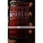 Rectangle Pattern Leather Back Case Cover for iPhone 4 Brown