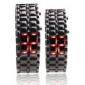Black Metal bande numérique de lave de fer de style quelques sports led rouge montre-bracelet sans visage