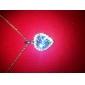 синий блестящий кристалл и платины покрытием сплава в форме сердца кулон ожерелье