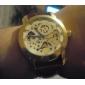 automático total mechnical couro marrom relógio de pulso banda com discagem gravura de prata oca