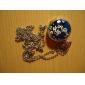 antique quartz petite orchidée chaîne de collier montre de poche (bleu)