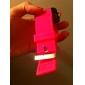 silicone banda mulheres homens unisex geléia estilo esporte espelho quadrado levaram relógio de pulso - pêssego vermelho