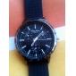 남자 캐주얼 실리콘 아날로그 석영 손목 시계 (블랙)