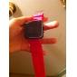 силиконовой лентой женщин мужчин унисекс желе спортивный стиль квадратное зеркало привело наручные часы - персик красный