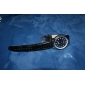 Japanese PC Movement Black Leather Band Wrist Watch Silver Case Black Dial
