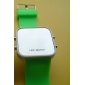 Unisex Red LED Digital Square Case Green Silicone Band Wrist Watch Cool Watch Unique Watch