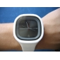 Unisex Jelly Black Dial White Silicone Band Quartz Analog Wrist Watch Cool Watch Unique Watch